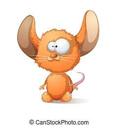 grande, orelha, rato, caricatura