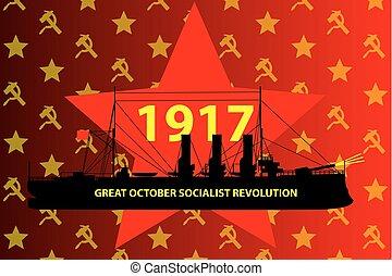 grande, ottobre, rivoluzione, socialista