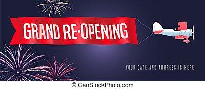 grande ouverture, ou, vecteur, re-opening, vendange, avion, fond, illustration