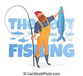 grande, overol, barba, amarillo, fish., hombre, agarrado