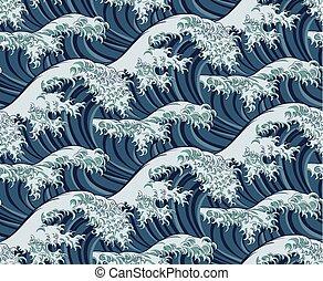 grande, padrão, seamless, onda, japoneses, fundo