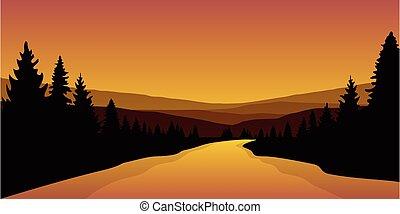 grande, paesaggio, fiume, foresta autunno, bello