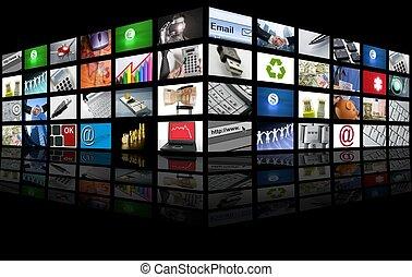 grande, painel, de, tela tv, negócio internet