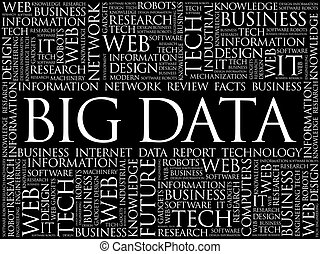 grande, palabra, datos, nube