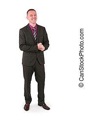 grande, paleto, jovem, homem negócios, sorrizo