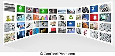 grande, panel, de, pantalla de tv, negocio internet