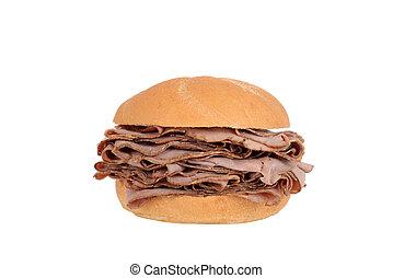 grande, panino, azotemia, arrosto di manzo