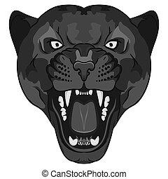 grande, pantera, enojado, gato, portrait., salvaje