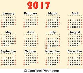 grande parede, 2017., vetorial, novo, calendário