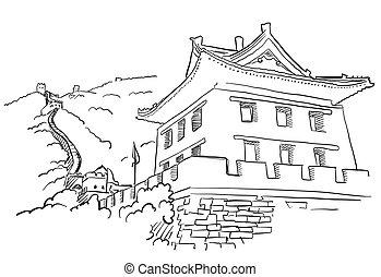 grande parede, com, torre, esboço
