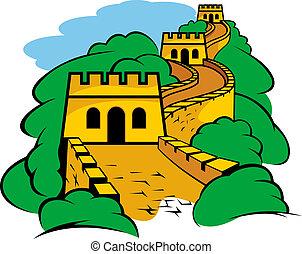 grande parede, em, china