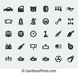 grande, partes carro, jogo, ícones