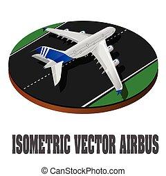 grande, pasajero, avión, 3d, isométrico, illustration., plano, alto, calidad, transport., vehículos, diseñado, para llevar, números, de, passengers., ., vector., vuelo