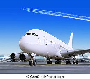 grande, pasajero, avión, en, aeropuerto