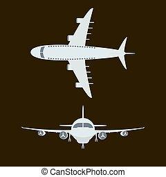 grande, passageiro, avião