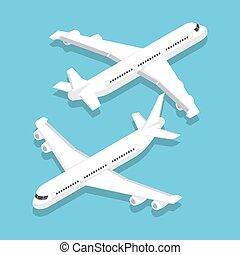 grande, passageiro, isometric, avião