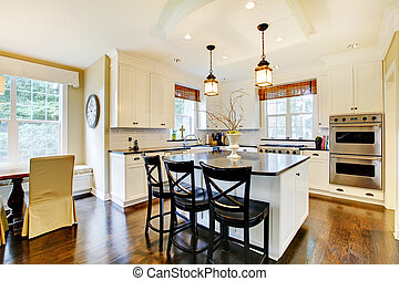 grande, pavimento, moderno, wih, scuro, lusso, bianco, cucina