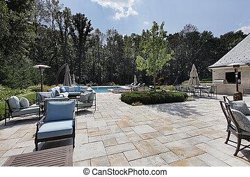 grande, pedra, pátio, com, piscina