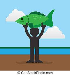 grande, peixe, figura, segurando