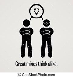grande, pensar, mentes, semelhante