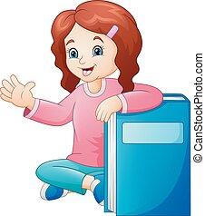 grande, pequeno, livro, menina, caricatura