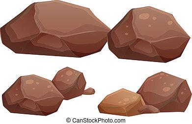 grande pequeno, pedras