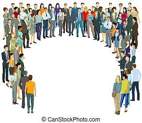 grande, pessoas, comunidade, grupo