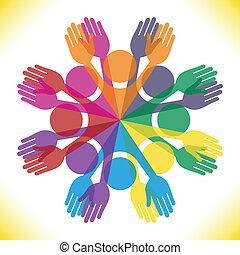 grande, pessoas., grupo, coloridos