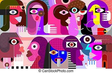 grande, pessoas, vetorial, grupo, ilustração