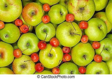 grande, piccolo, mele, granchio, verde rosso