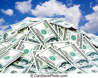 grande, pila, de, el, dinero