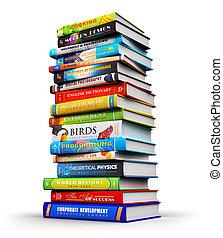 grande, pilha, de, cor, hardcover, livros