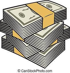 grande, pilha, dinheiro