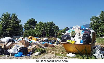 grande, pilha, Lixo