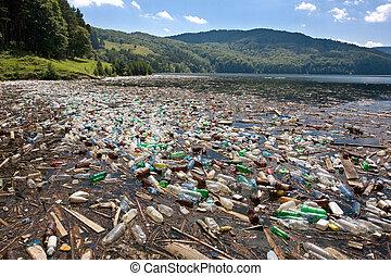 grande, plástico, poluição