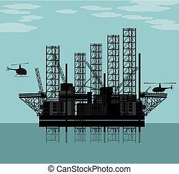 grande, plataforma óleo