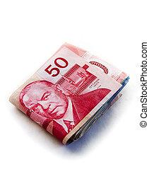 grande, pliegue, canadiense, dinero