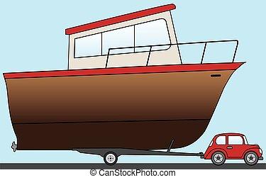 grande, poco, barco, coche