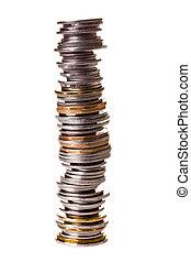 grande, poco, monete, mucchio