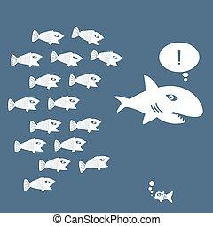 grande, poco, pez, comer, pez
