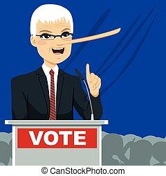 grande, político, nariz, mentindo