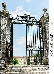 grande, portão, ferro forjado