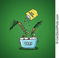 grande, pote, de, sopa, com, temperos, e, legumes