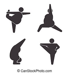grande, practicar, postura, yoga, tipos