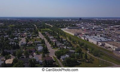Grande Prairie houses and shopping mall from above, Alberta,...