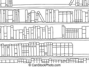 grande, prateleira, livros, esboço