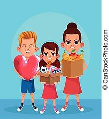 grande, presa a terra, ragazze, cartone animato, cuore, scatole, colorito, disegno, ragazzo, donazione, stuffs