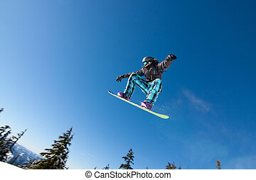 grande, presas, macho, snowboarder, ar.