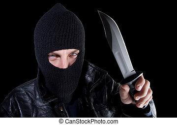 grande, pretas, máscara, faca, homem
