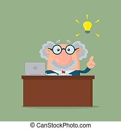 grande, professor, personagem, idéia, ou, atrás de, cientista, escrivaninha, caricatura